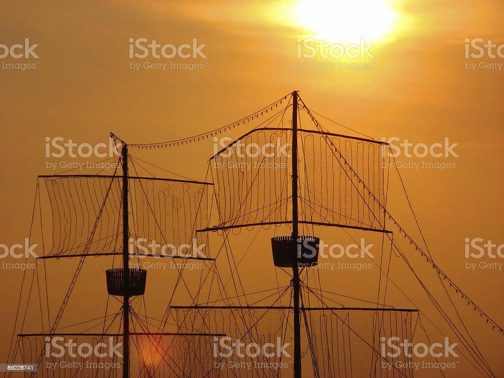 Masts At Sunset royalty-free stock photo