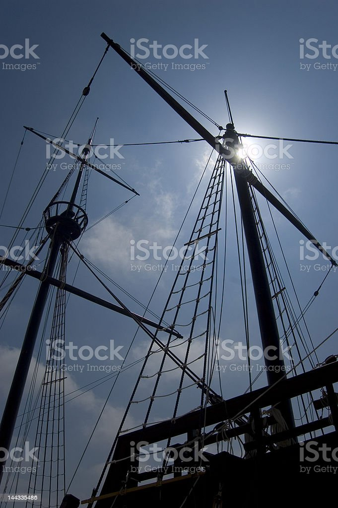 Masts in a ancient European Galleon stock photo