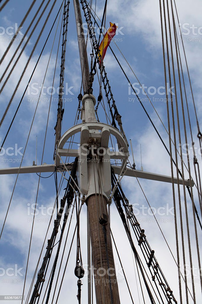 Masts in a Ancient Galleon stock photo