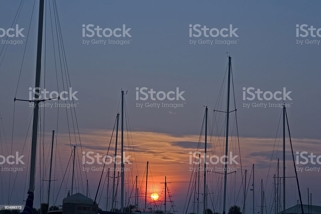 Masts in the morning royalty-free stock photo