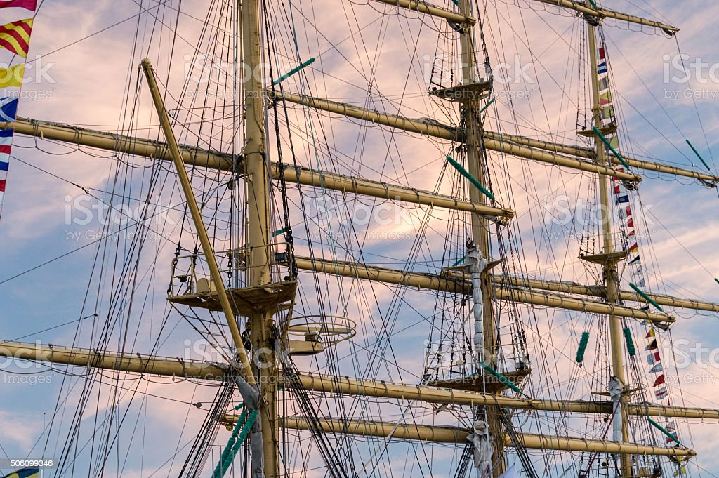 Masts of a historic vessel stock photo