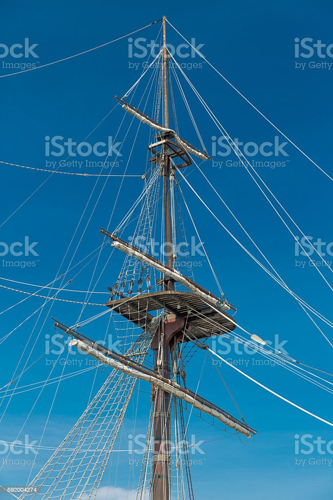 Masts of old Wooden Galleon, Alicante, Spain stock photo