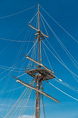 Masts of old Wooden Galleon, Alicante, Spain