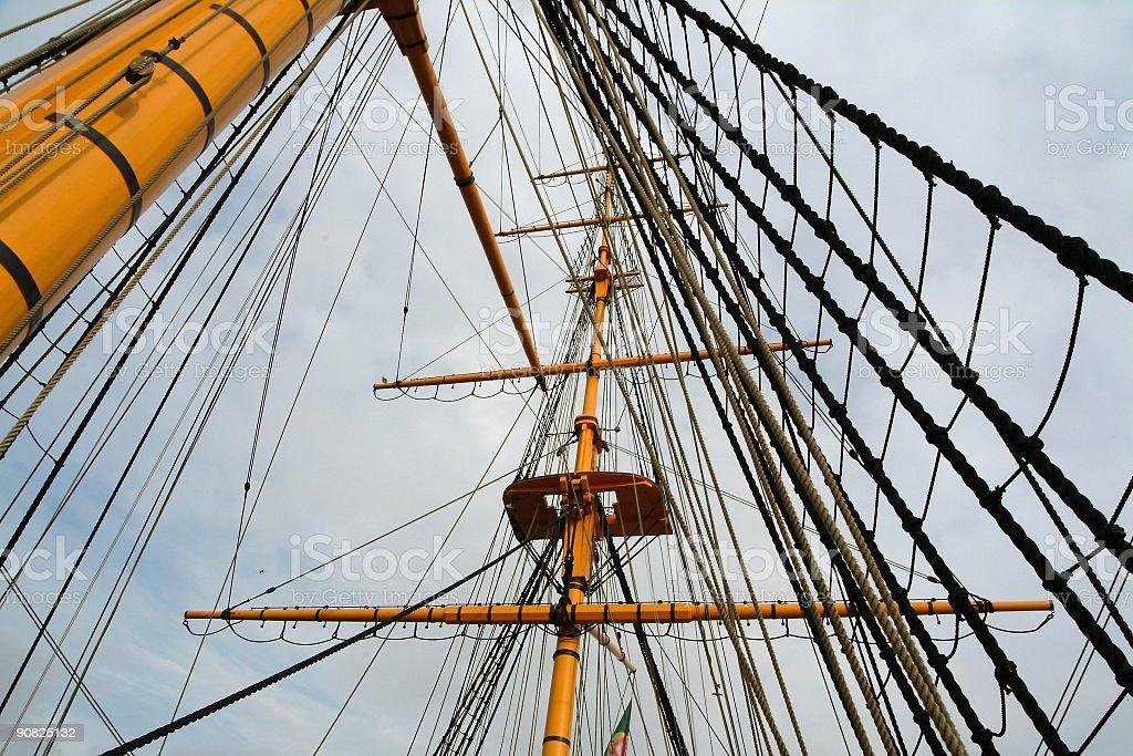 Masts of sail ship royalty-free stock photo