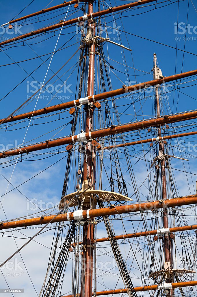 Masts of the RRS Discovery stock photo