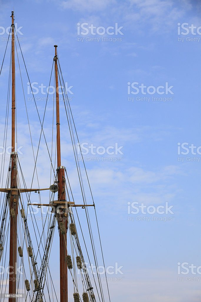 Masts rigging of sailing vessels blue sky royalty-free stock photo