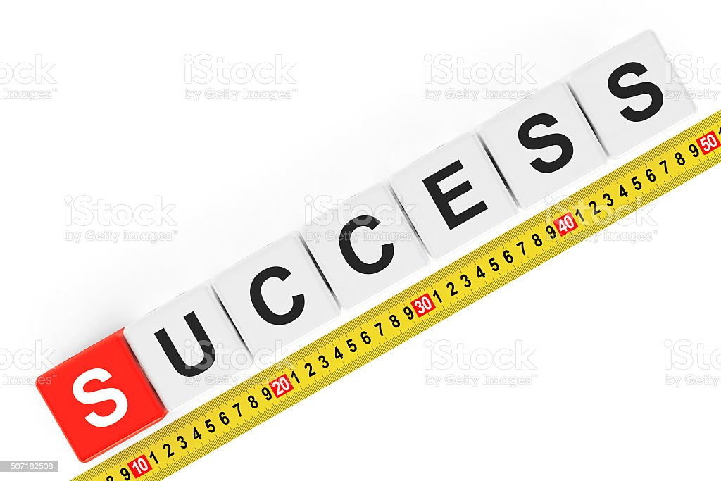 Masure Success Concept. Success Cubes with Measuring Tape stock photo