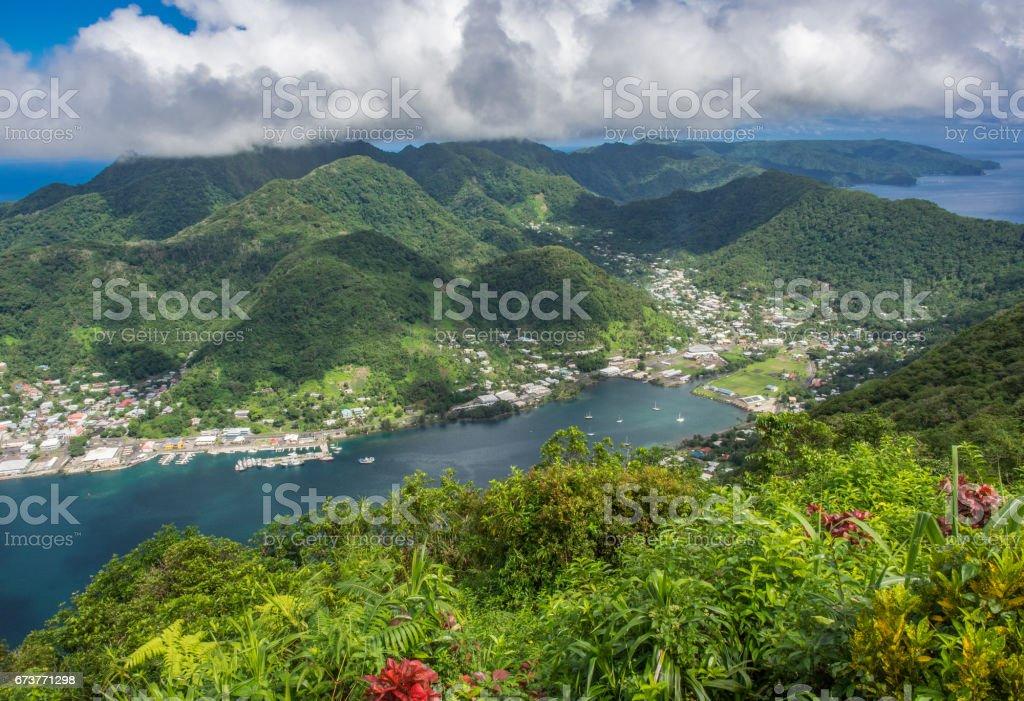 Matafao Mountain and Pago Pago Harbor, American Samoa stock photo