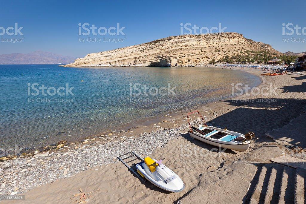 Matala beach, Crete royalty-free stock photo