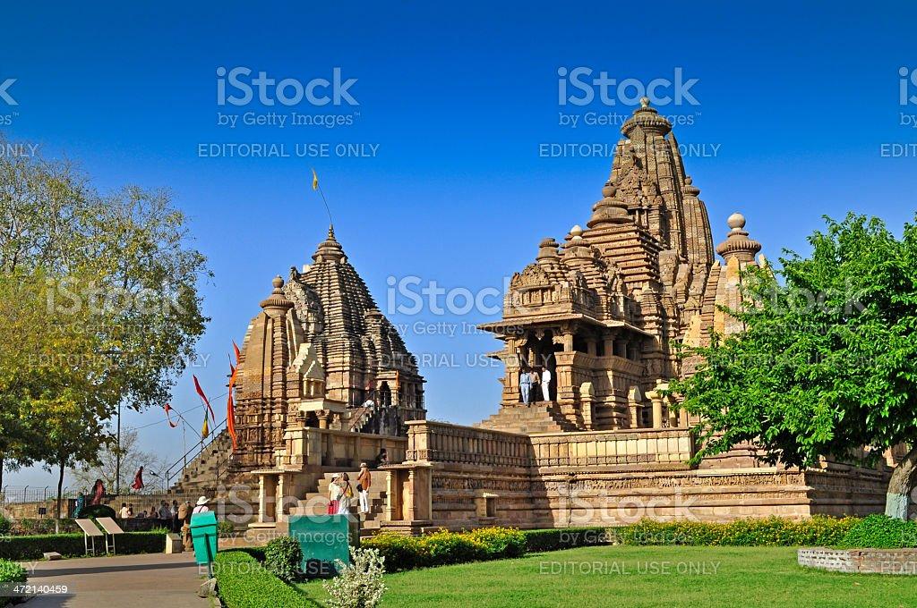 Matangeshvara (left) and Lakshmana Temple -Khajuraho, India - UNESCO site stock photo