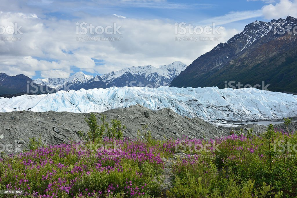 Matanuska Glacier along Glenn Highway stock photo
