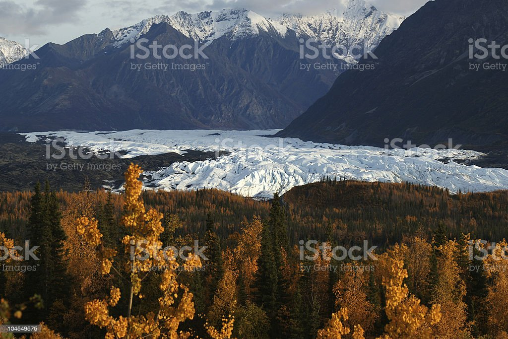 Matanuska Glacier in Fall Colors stock photo