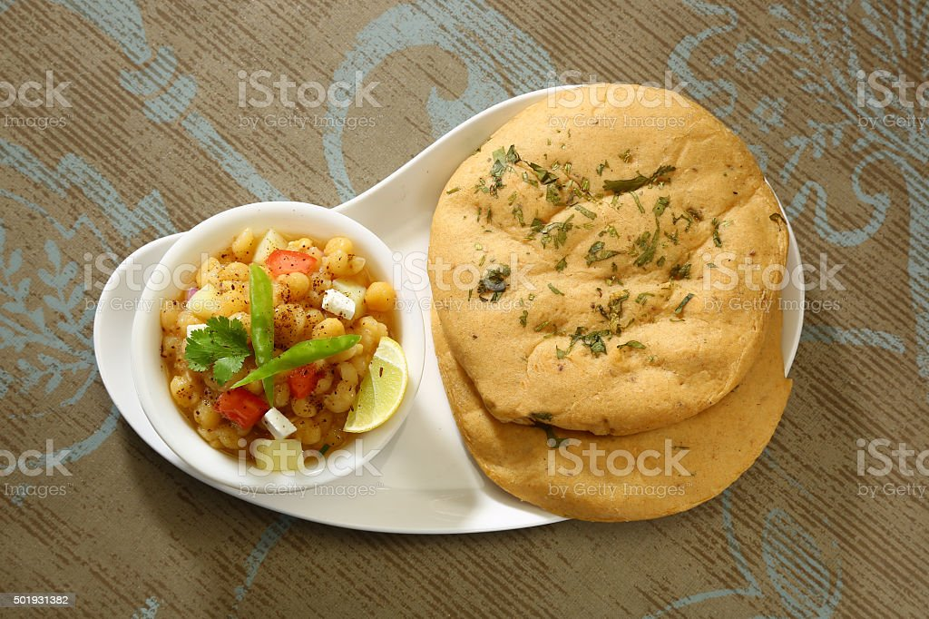 Matar kulcha or Dried yellow peas chaat stock photo