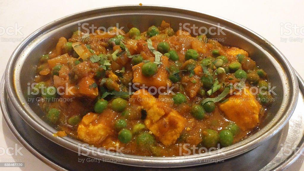 Matar Paneer curry - indian food stock photo