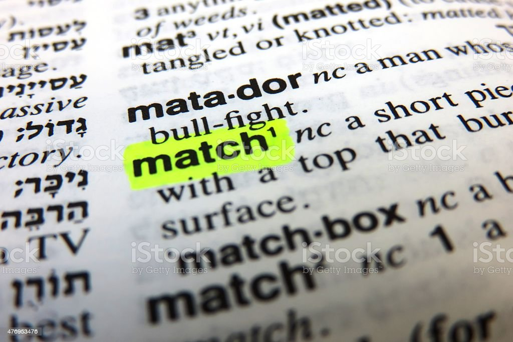 Match -  dictionary definition stock photo