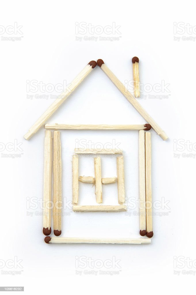 Match house home conceptual isolated on white stock photo