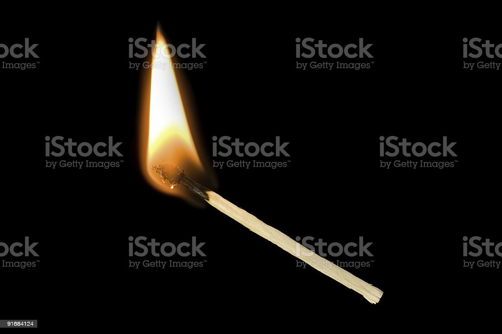 match is on fire stock photo