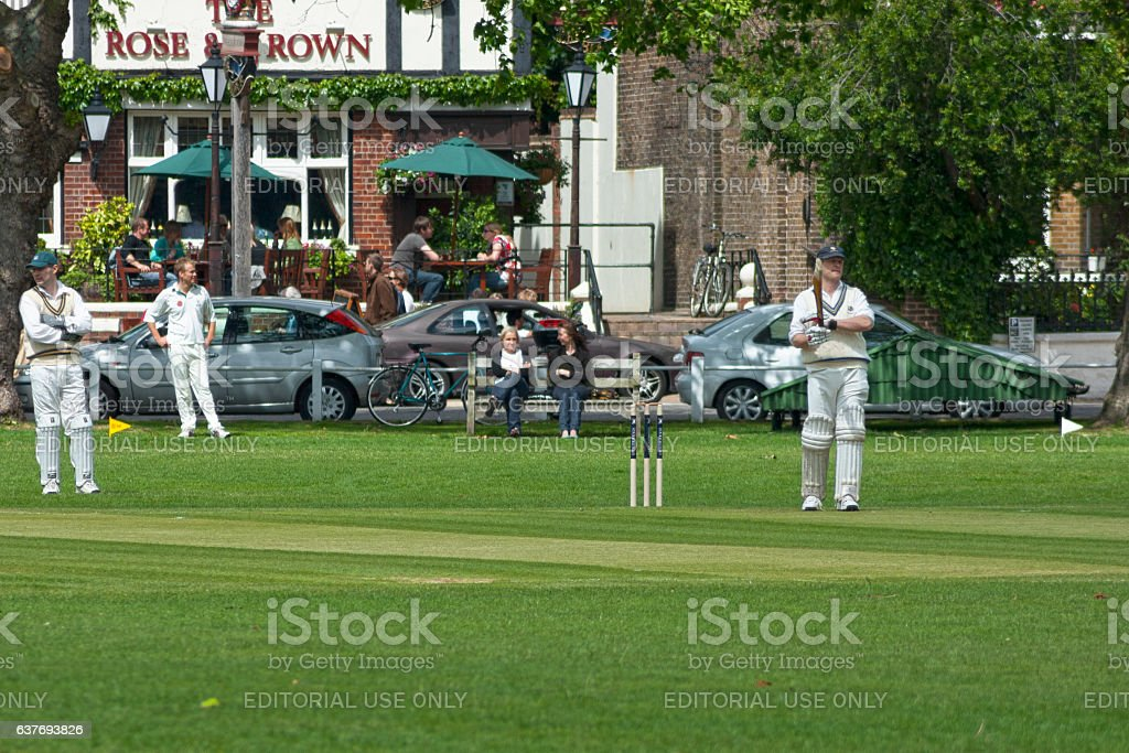 Match of cricket stock photo