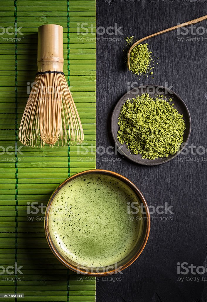 Matcha accessories and green tea stock photo