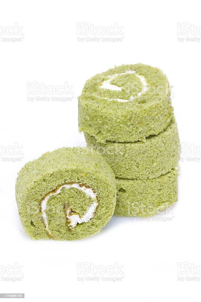 Matcha cake rolls isolated on white. stock photo