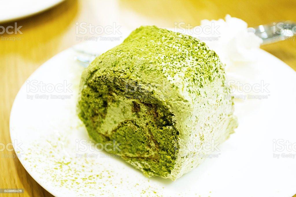Matcha cake with dream stock photo