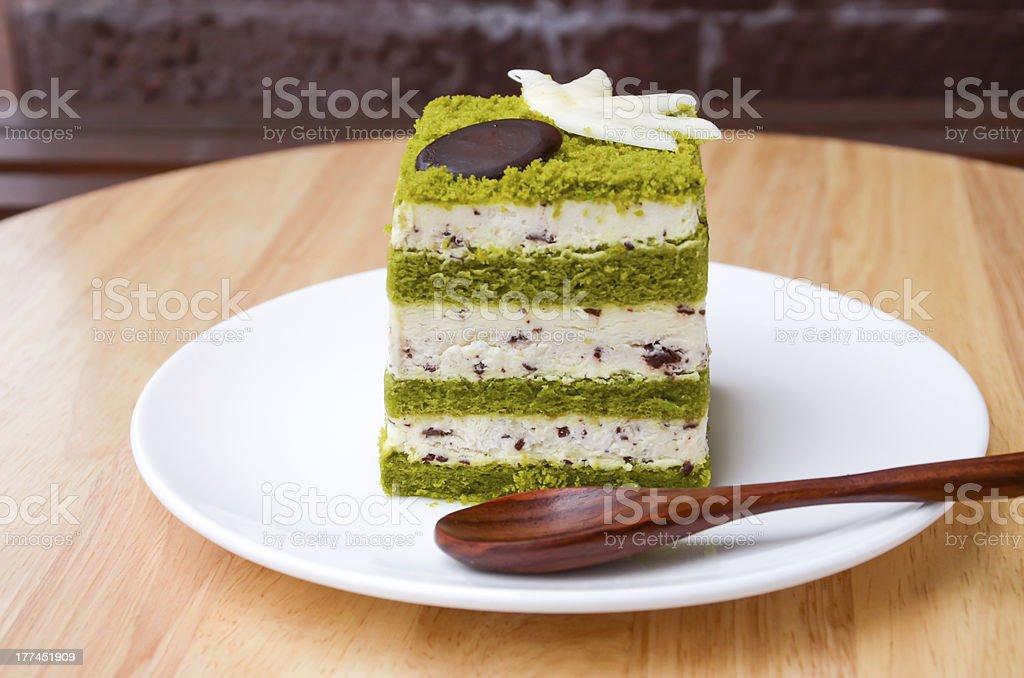 Matcha Chocolate Chip Cake. royalty-free stock photo