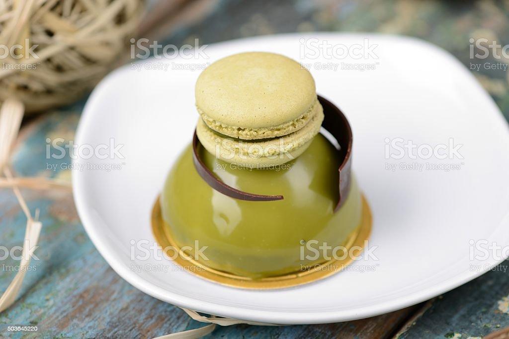 Matcha Dome Dessert Cake stock photo