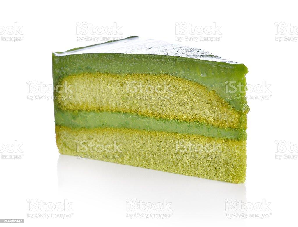 Matcha Green tea cake on white stock photo