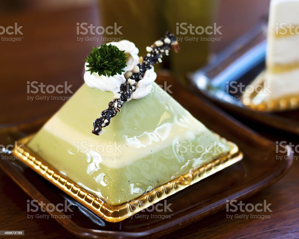 matcha green tea cake royalty-free stock photo