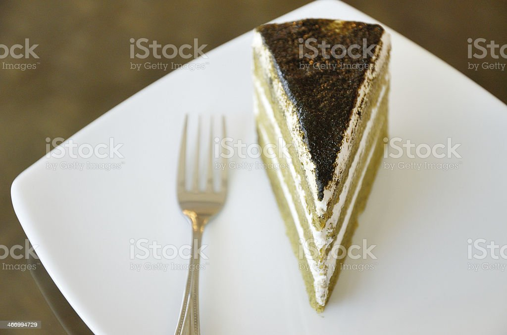 Matcha green tea cake royalty-free stock photo