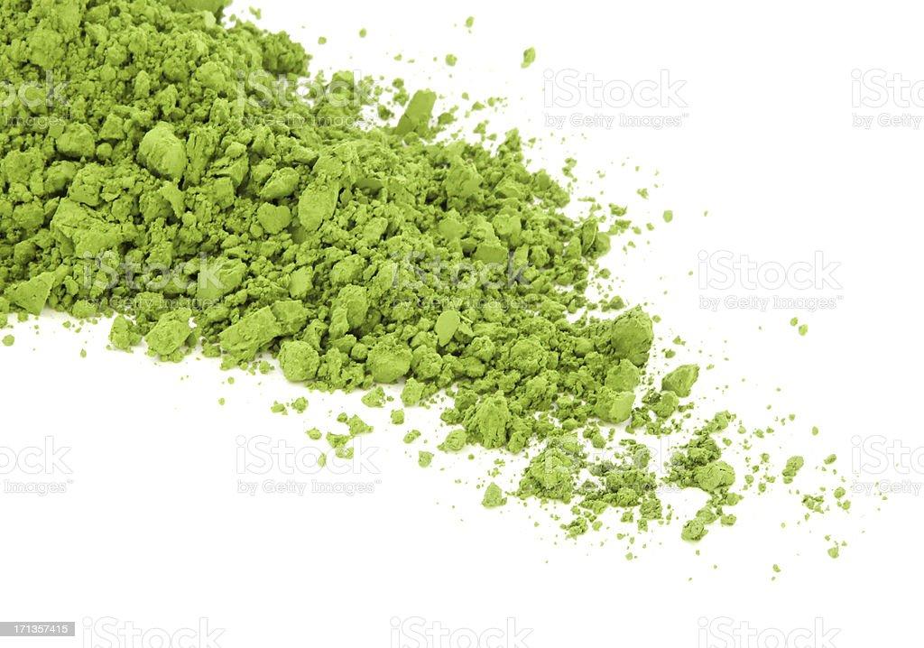 Matcha green tea spilt over the white surface stock photo