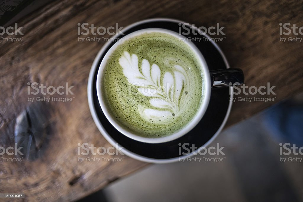 Matcha Latte. Foam Art stock photo