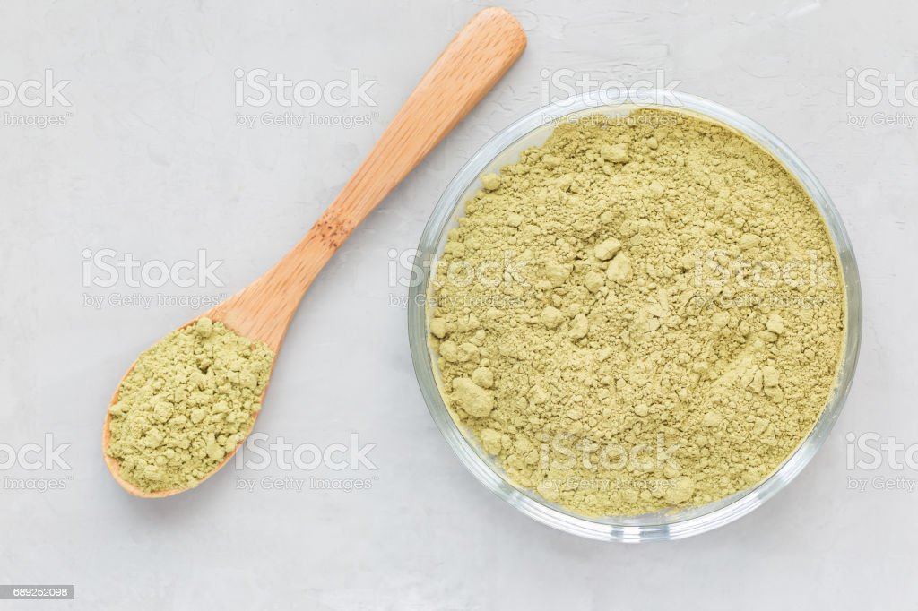 Matcha tea powder on the a plate and in wooden spoon, top view, copy space stock photo