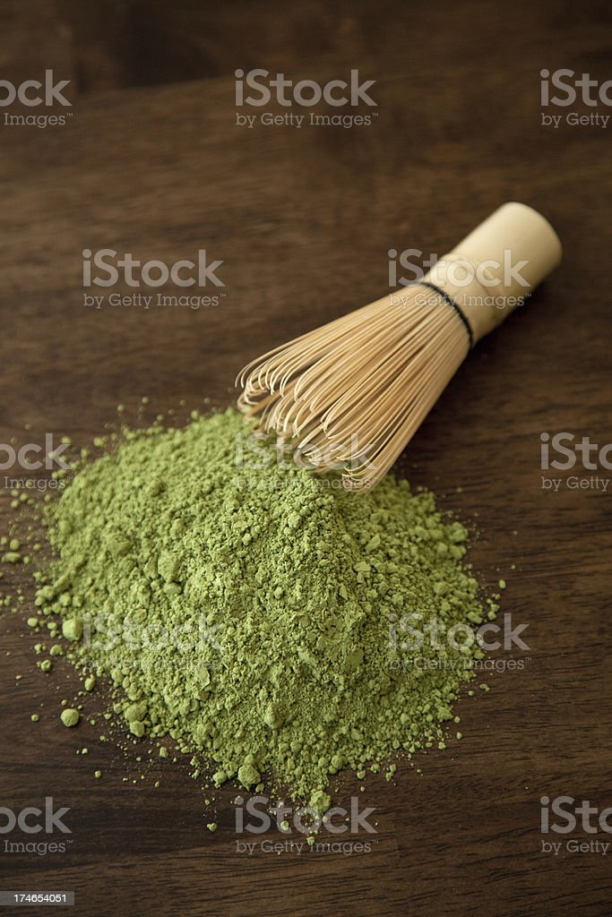 Matcha with Bamboo Whisk royalty-free stock photo