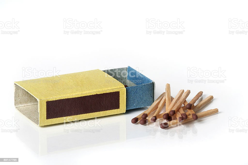 Matchbox and matches royalty-free stock photo
