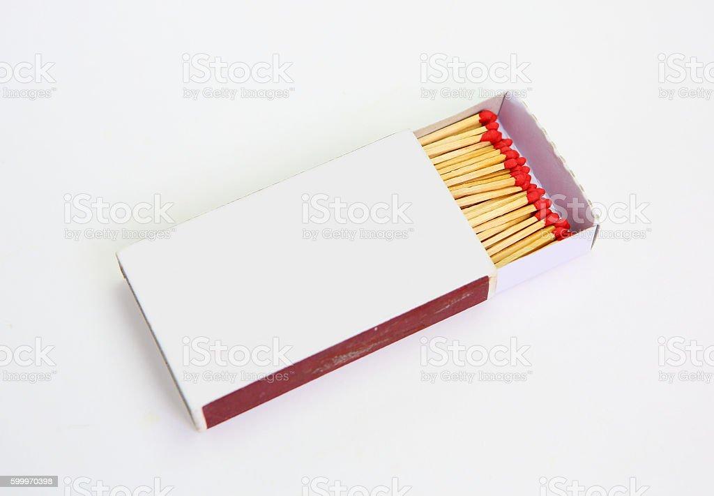 matchbox opened on white background stock photo