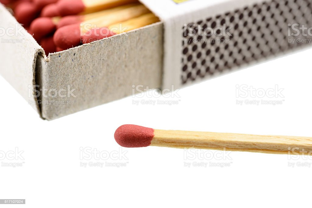 Matchbox with a matchstick outside box isolated on white. stock photo