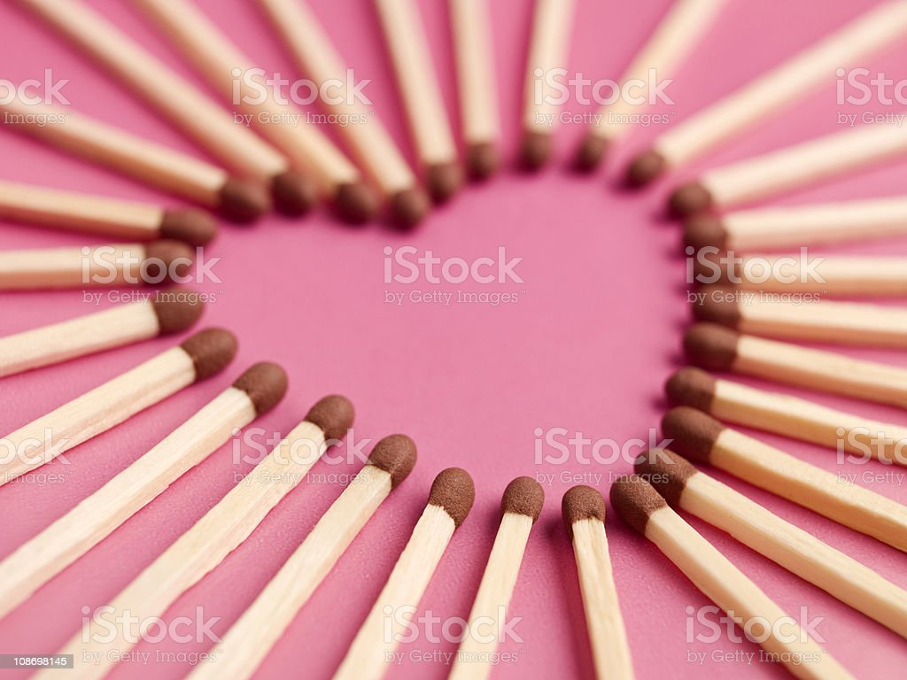 Matches formed as a heart stock photo