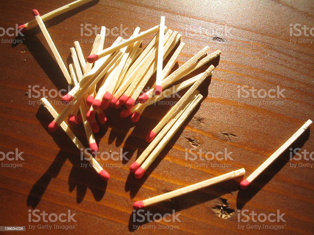 Matches on the Tabletop stock photo