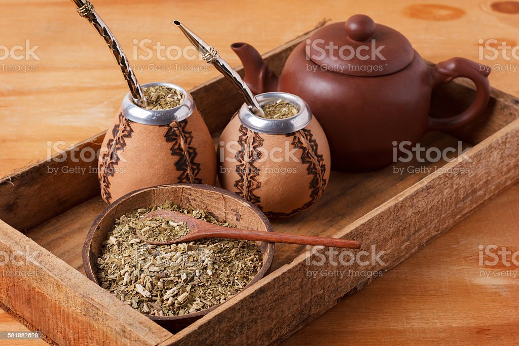 Mate in a traditional calabash gourd with bombilla stock photo