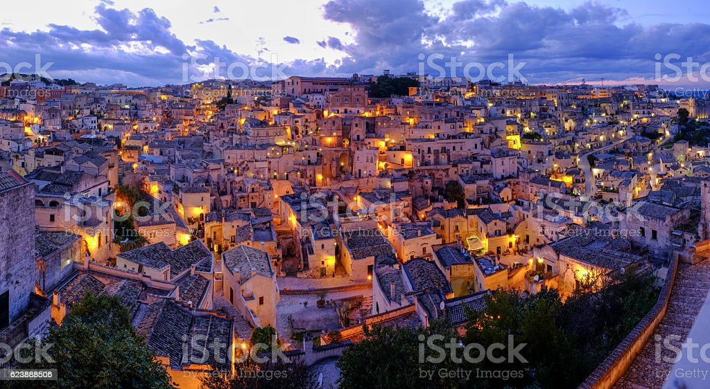 Matera at Night stock photo