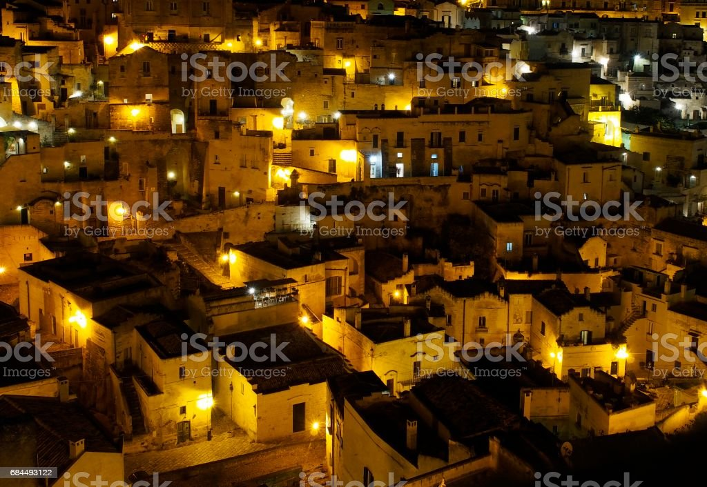 Matera i Sassi di notte stock photo