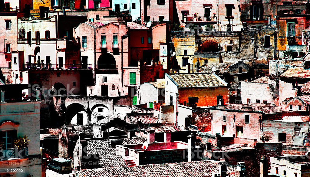 Matera Italy, cityscape processed stock photo