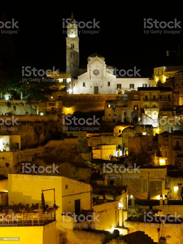Matera night stock photo