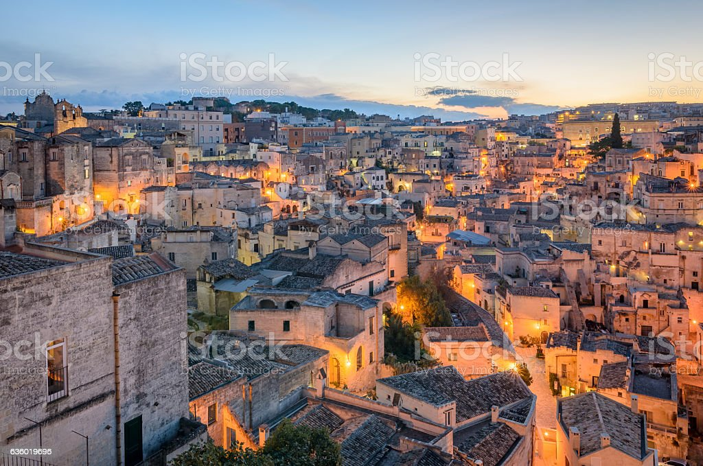 Matera panorama at twilight stock photo