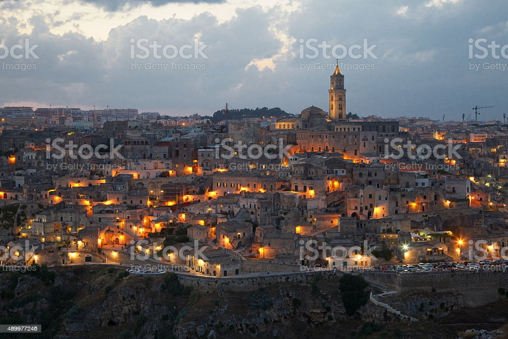 Matera Sassi at twilight stock photo