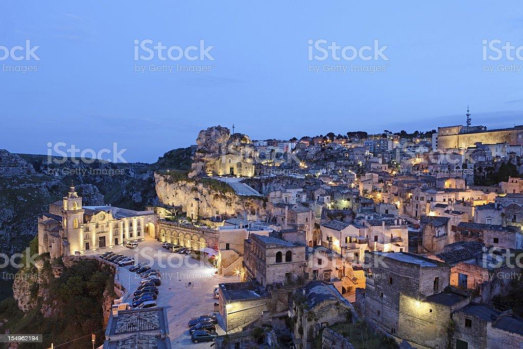 Matera Sassi cityscape by night, Basilicata Italy stock photo