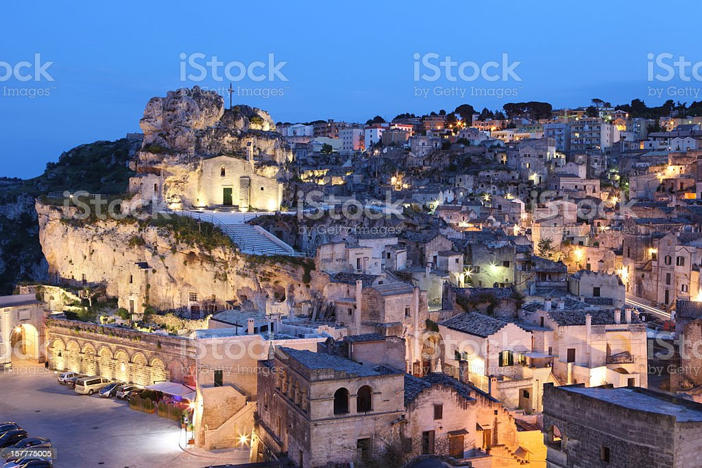 Matera Sassi cityscape by night, Basilicata Italy stock photo