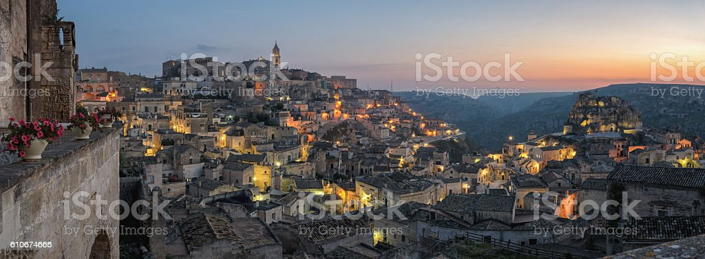 Matera (Basilicata Italy) Sasso Caveoso at sunrise stock photo