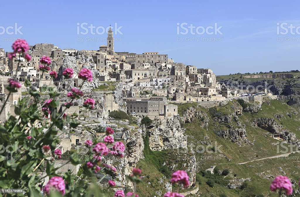Matera skyline and tuff landscape, Basilicata  Italy stock photo
